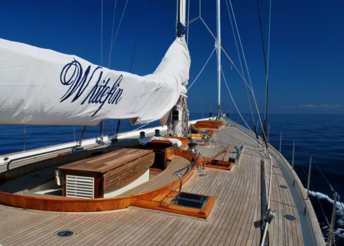 Classic Sailing Yacht Whitefin Foredeck