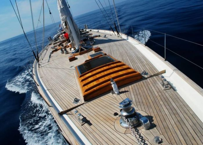 Classic Sailing Yacht Whitefin Foredeck Looking Aft
