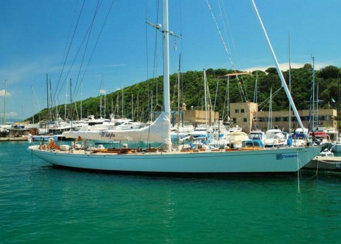 Classic Sailing Yacht Whitefin On Pontoon