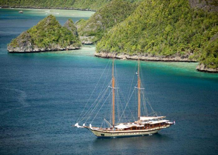 Classic Sailing Yacht Lamima Anchored