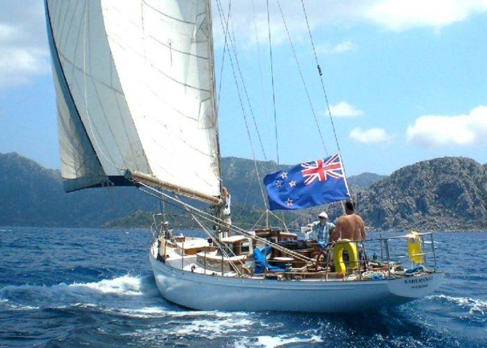 Classic Sailing Yacht Kahurangi Downwind Sailing