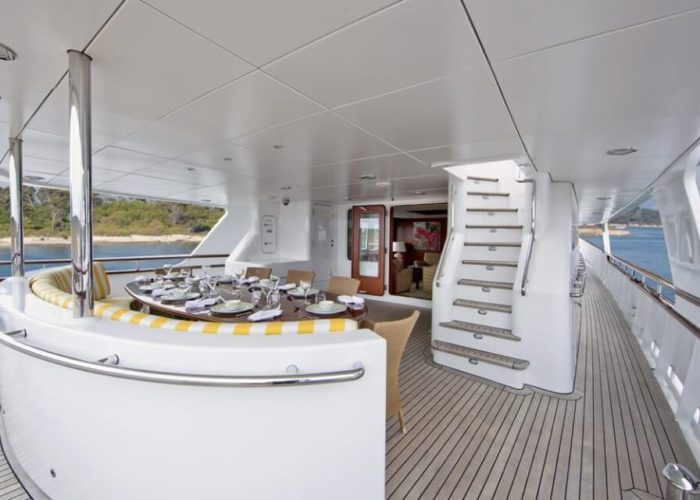Classic Motor Yacht Cornelia Aft Deck Dining