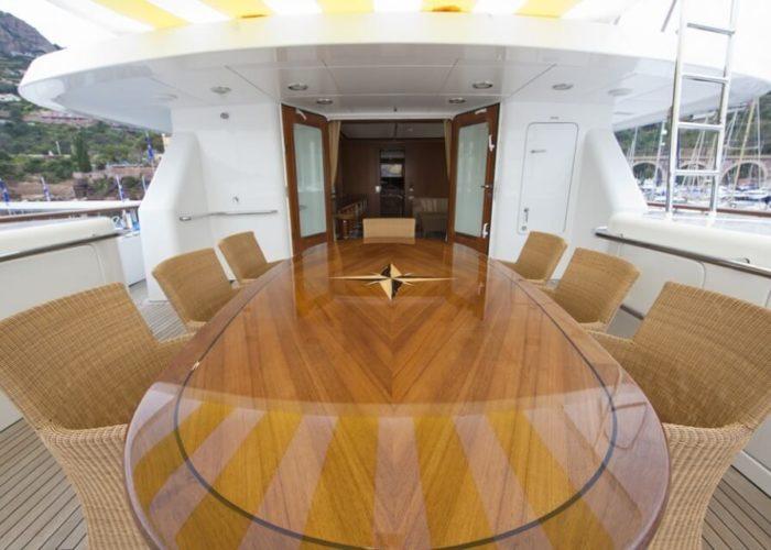 Classic Motor Yacht Cornelia Sun Deck Dining Table