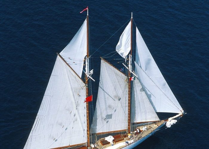 Classic Sailing Yacht Puritan Aerial View