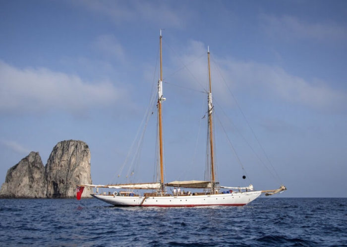 Classic Sailing Yacht Puritan Anchored