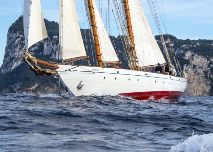 Classic Sailing Yacht Puritan Bow