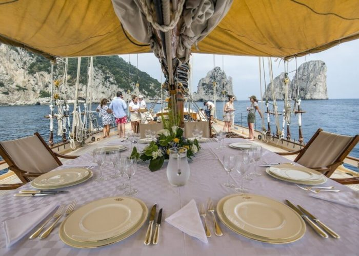 Classic Sailing Yacht Puritan Dining On Deck
