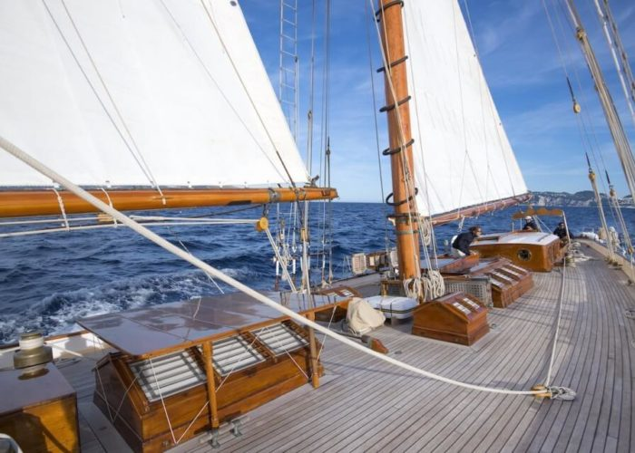 Classic Sailing Yacht Puritan On Deck
