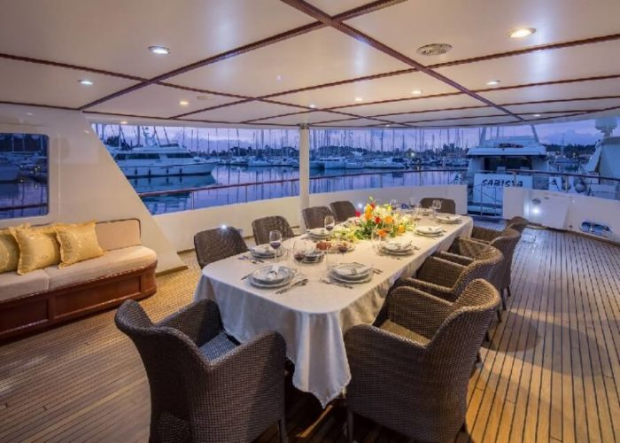 Classic Motor Yacht Donna Del Mare Aft Deck Dining