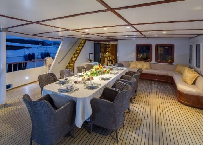 Classic Motor Yacht Donna Del Mare Aft Deck Looking Forward