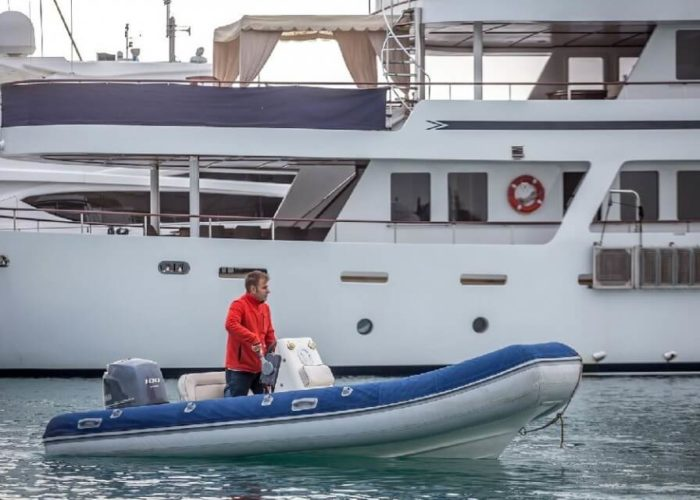Classic Motor Yacht Donna Del Mare Tender In Water