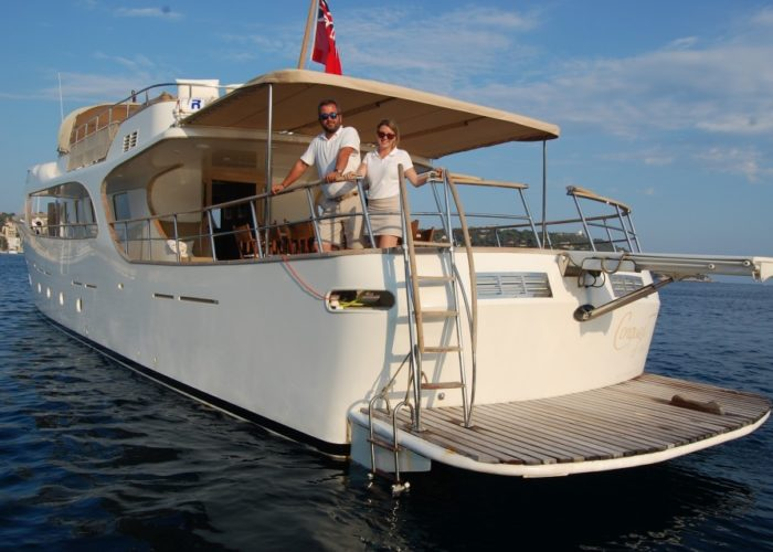 motor yacht Conquest captain and stewardess