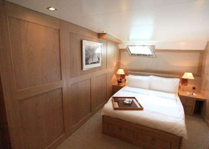 motor yacht Conquest master cabin view