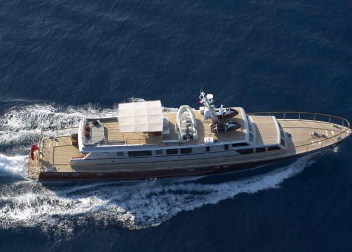 Classic Motor Yacht Tempest WS Aerial View
