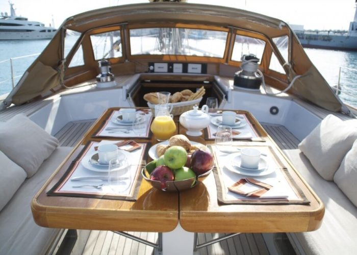 Classic Sailing Yacht Volador Dining On Deck