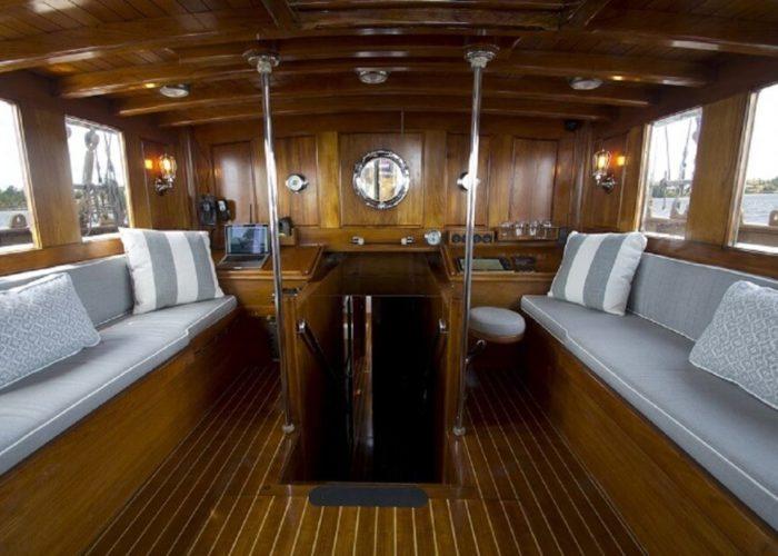 Classic Sailing Yacht Eros Cockpit