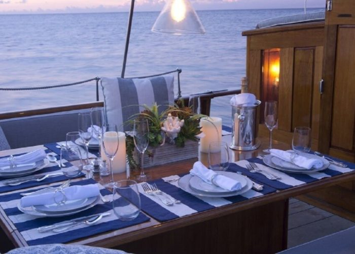 Classic Sailing Yacht Eros Dining On Deck