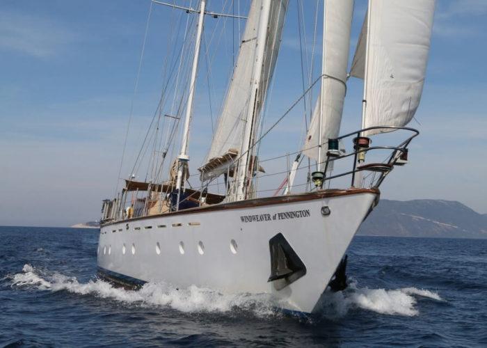 Classic Sailing Yacht Windweaver of Pennington Bow View