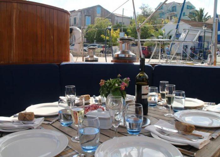 Classic Sailing Yacht Windweaver of Pennington Outside Dining