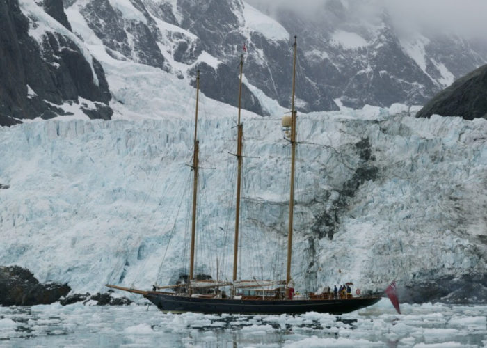 Classic Sailing Yacht Shenandoah Of Sark Anchored In The Arctic