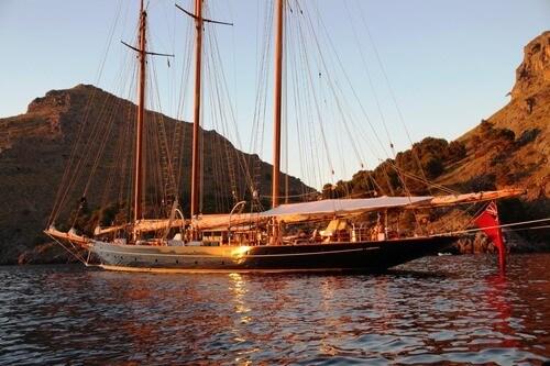 Classic Sailing Yacht Shenandoah Of Sark Anchored