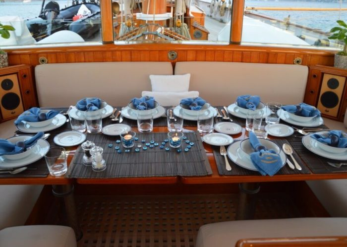 Classic Sailing Yacht Shenandoah Of Sark Outside Dining