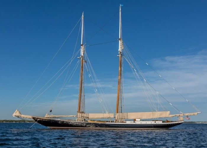 Classic Sailing Yacht Columbia At Anchor