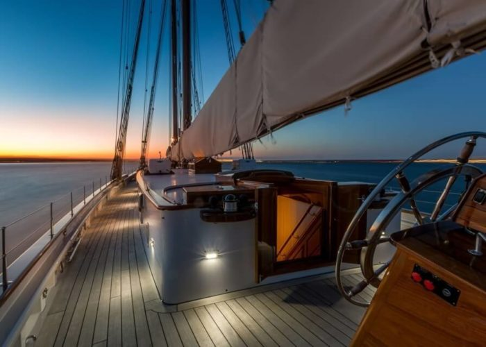 Classic Sailing Yacht Columbia Deck At Night