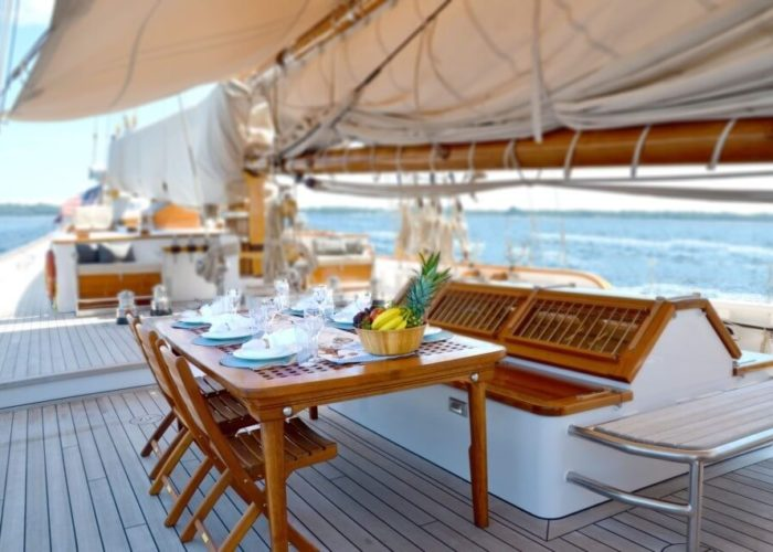 Classic Sailing Yacht Columbia On Deck Dining
