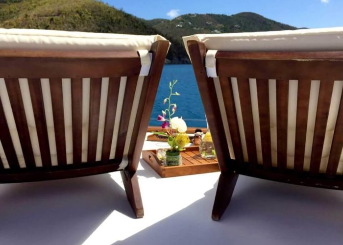 Classic Sailing Yacht Columbiad Deck Loungers Flowers