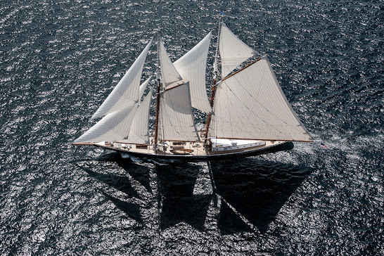Classic Sailing Yacht Columbia aerial shot