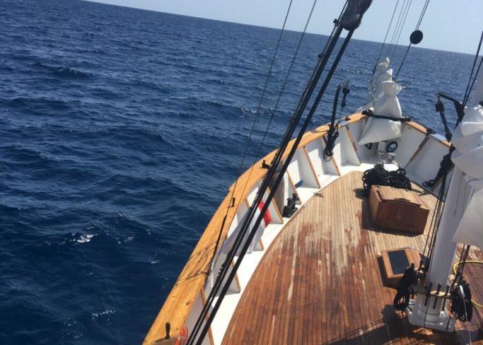 Classic Motor Sailor Yacht Truelove Foredeck