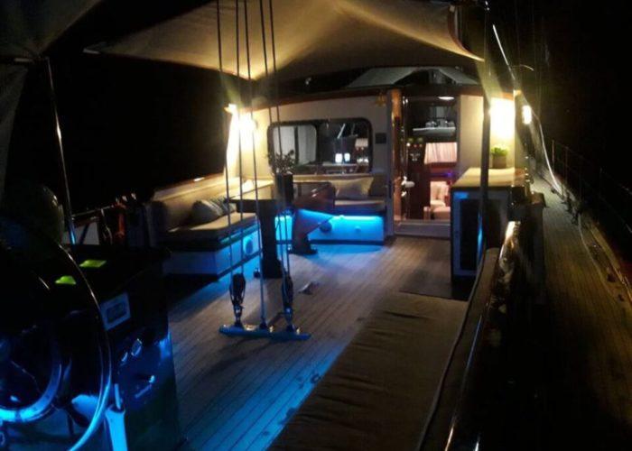 Classic Sailing Yacht Lamadine Aft Deck At Night