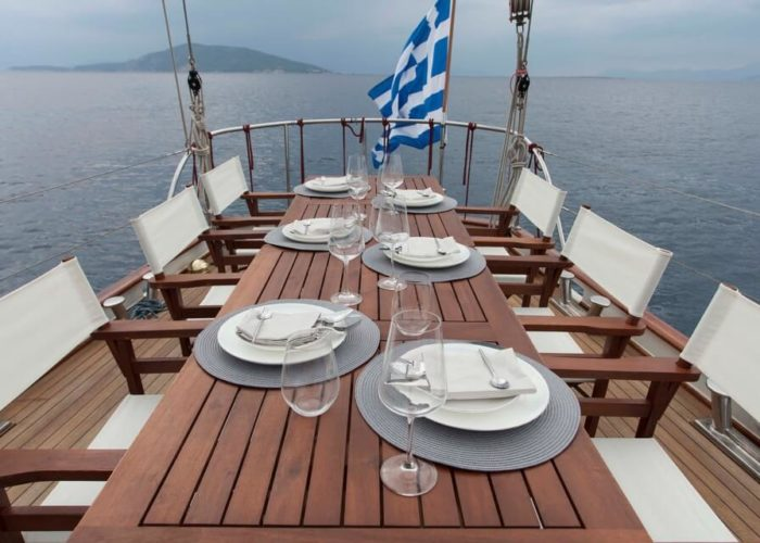 Classic Sailing Yacht Lamadine Aft Dining
