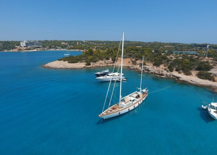 Classic Sailing Yacht Lamadine Anchored