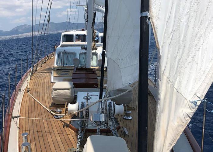 Classic Sailing Yacht Lamadine Looking Aft