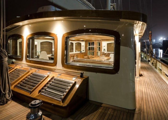 Classic Sailing Yacht Malcolm Miller Deck At Night