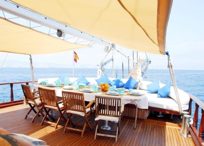Classic Sailing Yacht Adara Dining On Deck