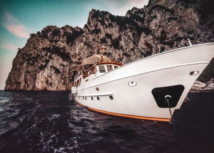 Classic Motor Yacht Entrancer Anchored