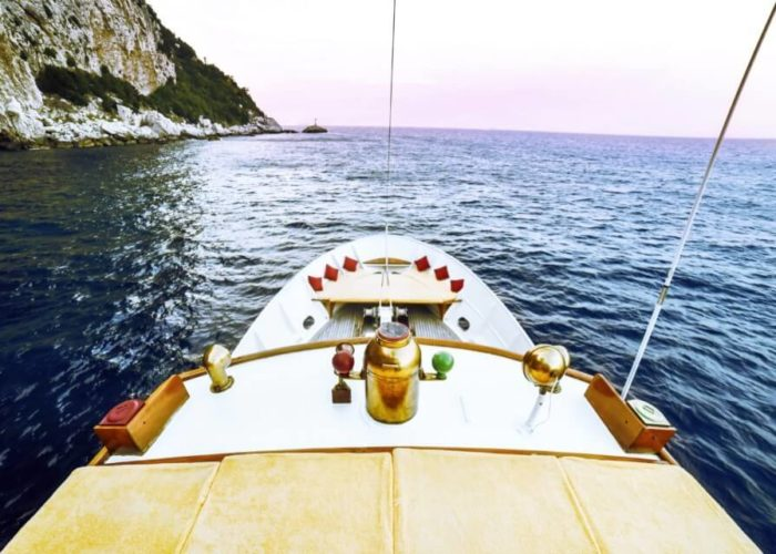 Classic Motor Yacht Entrancer Foredeck