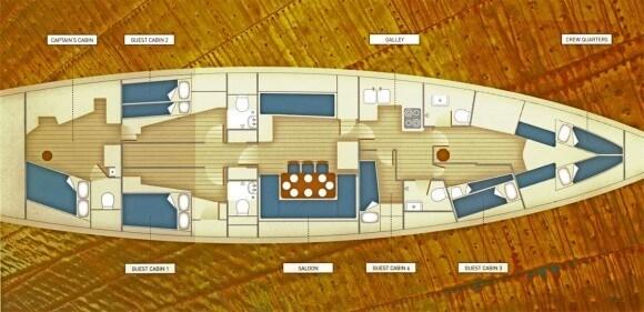 Classic Sailing Yacht Halcyon Deck Plan