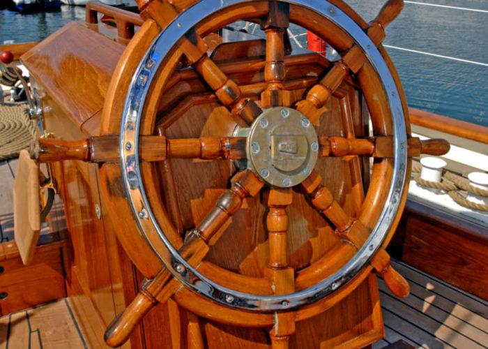 Classic Sailing Yacht Halcyon Wheel