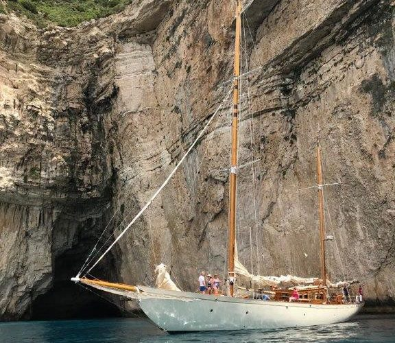 Classic Sailing Yacht Halcyon at anchor
