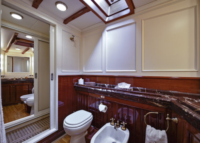 Yacht invader adjoining bathroom and shower