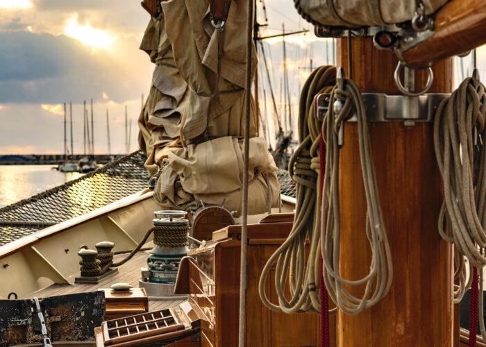 Yacht invader sails on deck