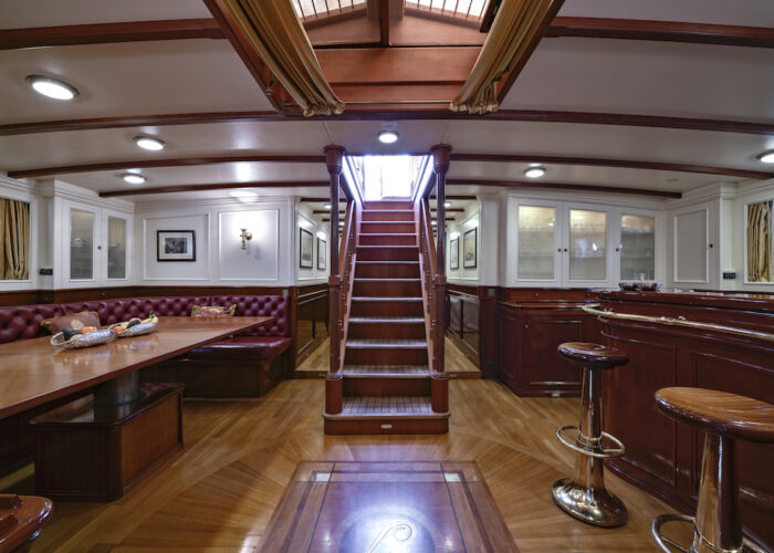 Yacht invader salon and bar steps