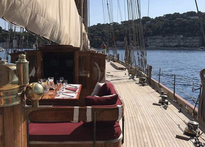 sailing yacht invader on deck dining