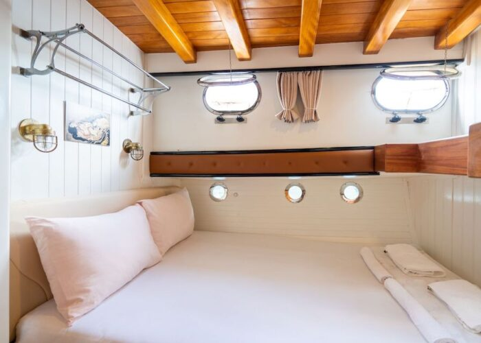 the 24m gulet Kavira II double ensuite cabin 2 with a double berth